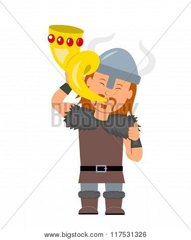 Viking. A man in a costume a viking holding golden horn in hand. Isolated viking character in a flat