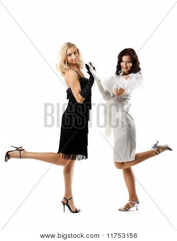 Two beauty woman in black and white