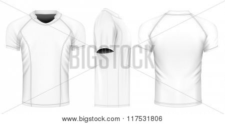Rugby jersey, front, back and side views. Fully editable handmade mesh. Vector illustration.