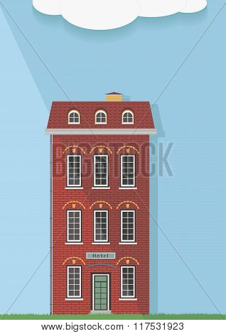 Illustration, The Red Brick House On A Light Background.