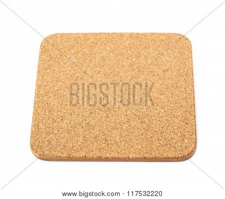 Square cork textured coaster isolated