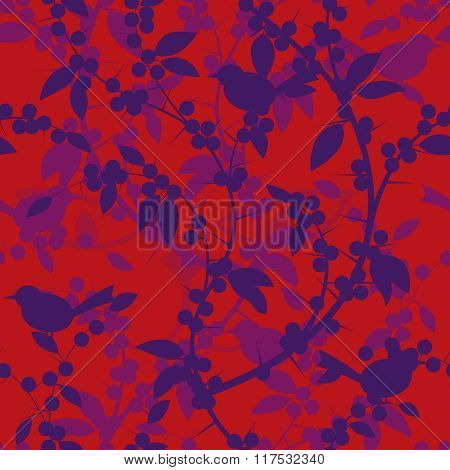 Seamless Pattern Of Blackthorn Berries And Birds