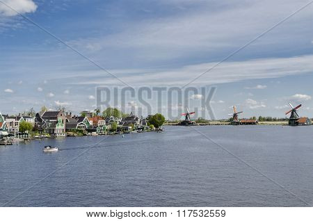 Typical Buildings And Windmills At Zaanse Schans, Amsterdam, Holland