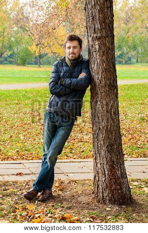Handsome Guy Leaned Against A Tree In Autumn Park