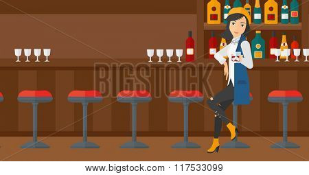 Woman sitting at bar.