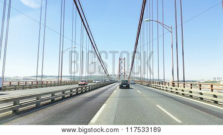 25 Abril bridge in Lisbon Portugal