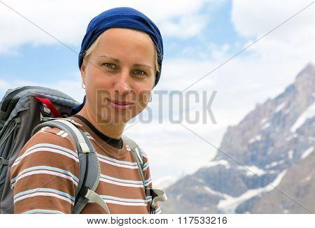 Optimistic and confident female hiker