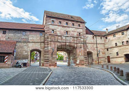 Neutor Gate In Old Town Of Nuremberg