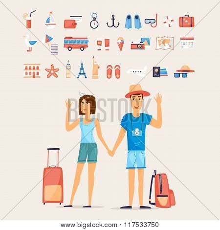 Traveling couple and set of icons
