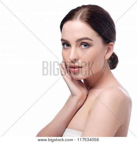 Beauty Woman Face Closeup. Beautiful Brunette Young Spa Model Girl With Perfect Skin. Skin Care Conc