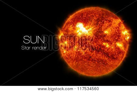 Sun - High resolution 3D images presents planets and star of the solar system. This image elements f