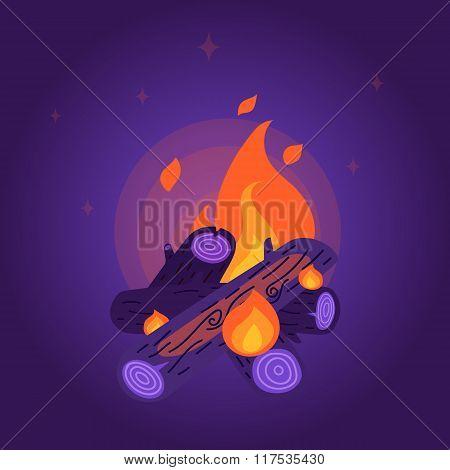 Flat Style Night Bonfire