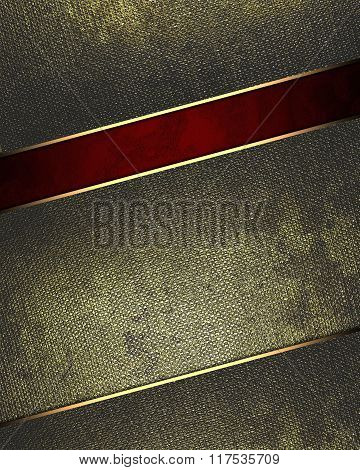Grunge Metal With A Red Cut. Element For Design. Template For Design. Copy Space For Ad Brochure Or