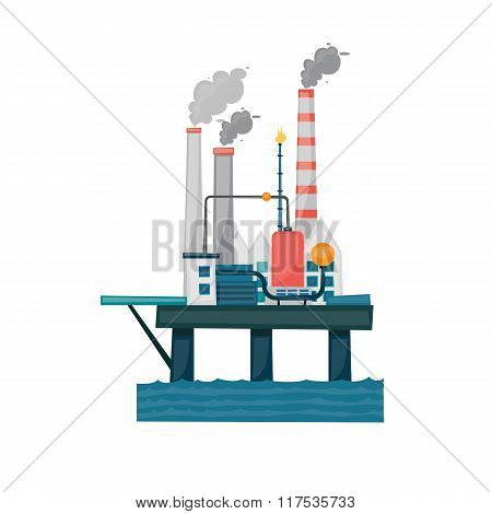 Oil and gas offshore industry with stationary platform.