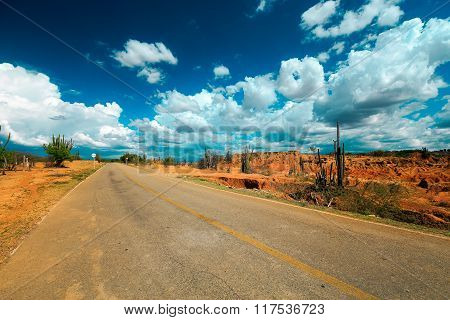 desert road, colombia, latin america, empty road in desert