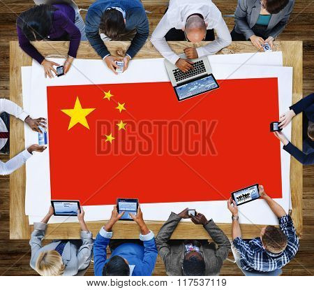 China National Flag Business Communication Meeting Concept