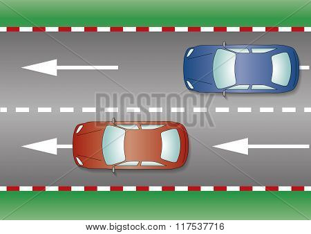 Two Cars On The Road