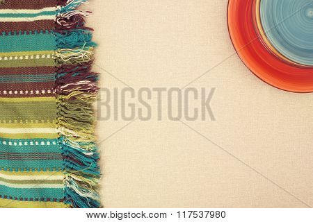 ?olored Plates  And  Striped Green Cloth, Blanket