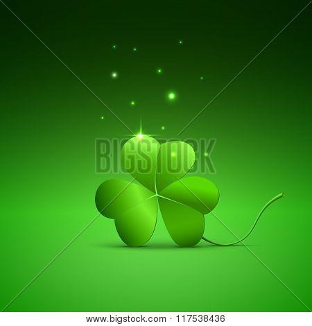 Three Clover Leaf On Green Background, Vector Illustration For St. Patricks Day