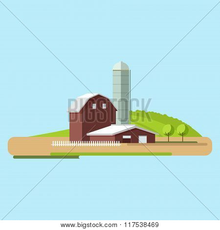 Vector Flat Illustrations Farm In Village.village Landscape.
