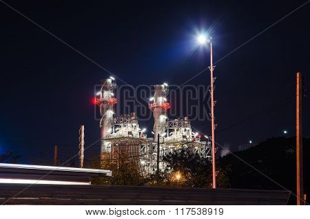 Electrical Plant At Night