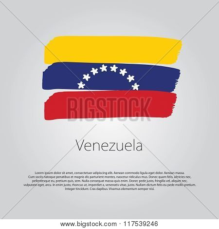 Venezuela Flag With Colored Hand Drawn Lines In Vector Format