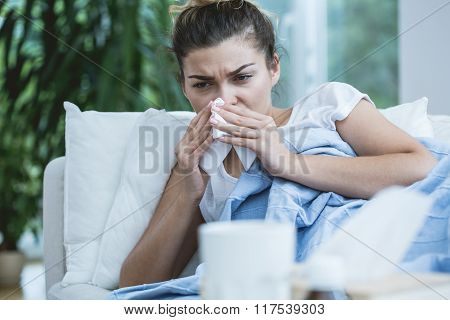 Sick Woman With Runny Nose