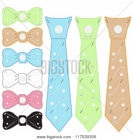 Ties And Bow Tie For Golfers