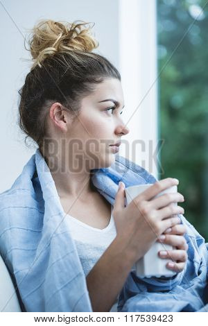 Ill Woman With Tea Cup