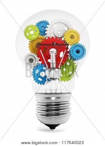 Colorful Gears Inside The Light Bulb