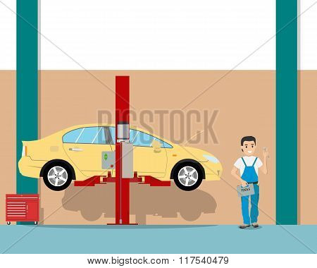 View of the interior of the garage from the inside and the workplace mechanic. Car repair. Vector il