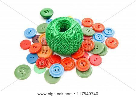 Green Ball Of Thread And Buttons