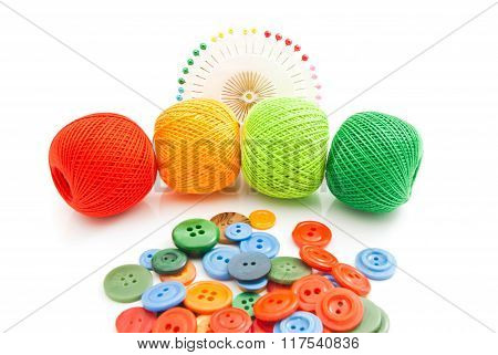 Buttons, Tangles Of Thread And Pins