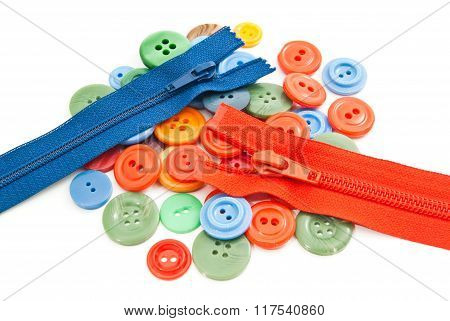 Colorful Buttons And Zippers