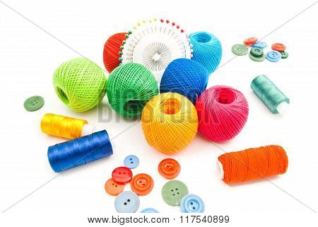 Thread, Pins And Colored Buttons