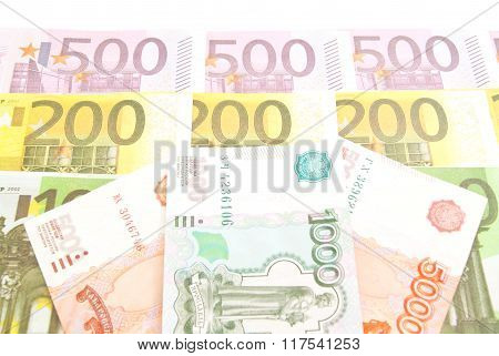 Russian Notes And Euro Banknotes