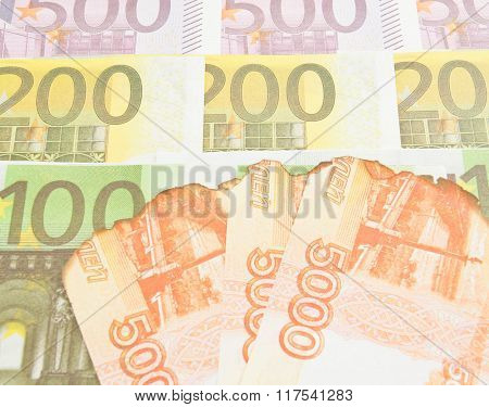 Burnt Notes Rubles And Euro Banknotes