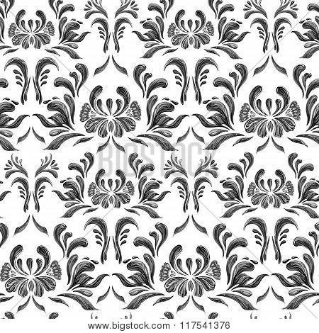 Floral seamless pattern.  Black and white