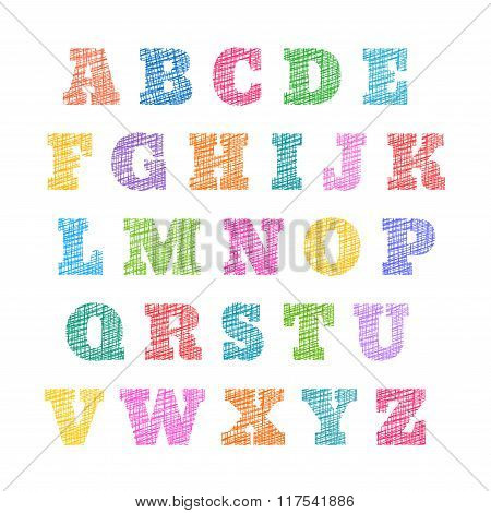 Sketched alphabet, stylized letters, hatched font