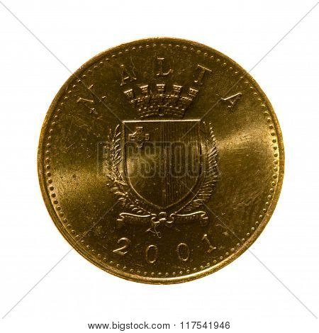 Metal Coins One Cent Malta Isolated On White Background