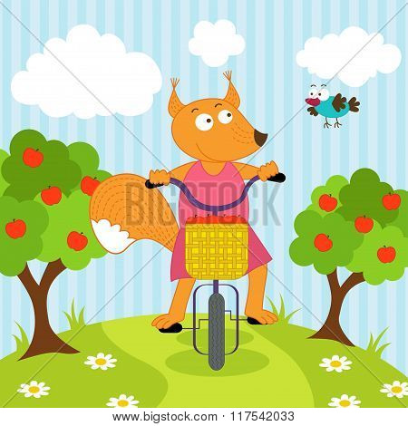 squirrel riding bicycle