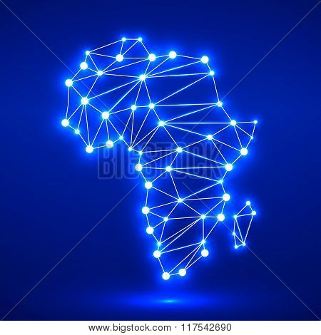 Abstract polygonal Africa map with glowing dots and lines