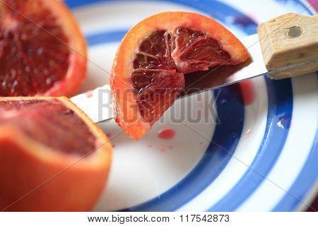 Decorative dish with blood orange