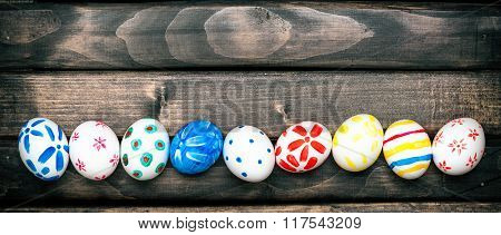 Easter eggs on old boards