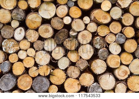 Firewood Stacked Background Texture