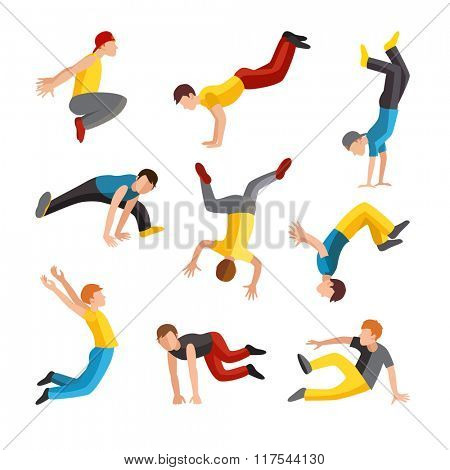Parkour tricks extreme sport people vector silhouette. City sport parkour human pose. Parkour flat vector people jump, fall and run tricks