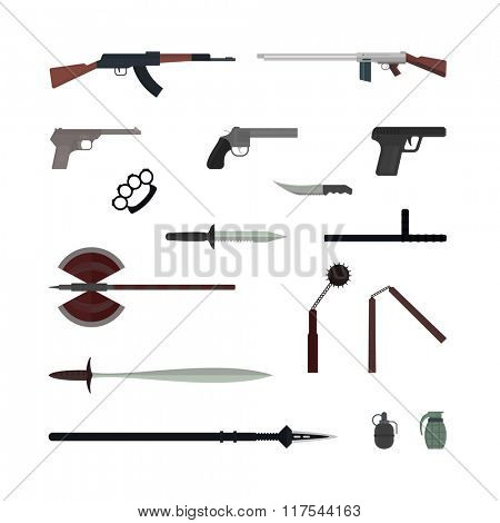 Weapons flat vector collection isolated on white background. Weapon vector illustration. Knives, huns, bomb and other weapon collection