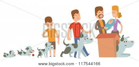 Boy and dog friends life stages vector illustration. Friendship and family concept. Boy and his dog live together. Man family and dog pet vector