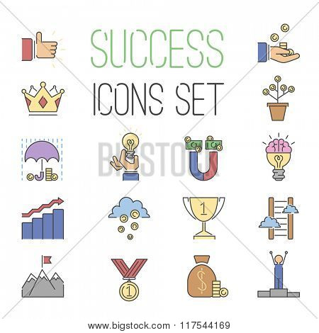 Business success vector icons set isolated on white background. Success icons collection. Succrsfull busiuness sign. Competition, sport, awards and team work