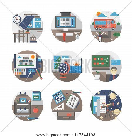 School routine flat color vector icons set